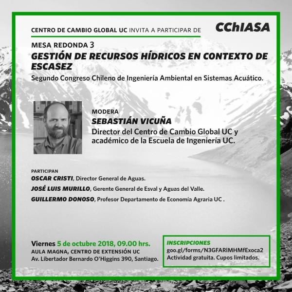 Mesa redonda CChiASA 2018: Gestión de Recursos Hídricos en Contexto de Escasez